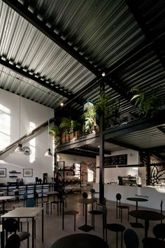 Loft Interior Design, Cafe Interior, Interior Architecture, Steel Structure Buildings, Metal Buildings, Industrial Office Design, Industrial House, Chiropractic Office Design, Classy Living Room