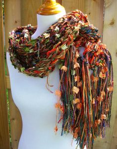 Maize Hand Knit Scarf Hand Tied Imported Yarns Harvest by Fanchi, $40.00