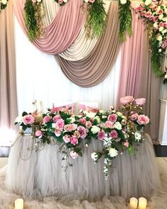 Looped fabric backdrop 50th Birthday Decorations, Summer Party Decorations, Bridal Decorations, Fabric Backdrop Wedding, Wedding Draping, Wedding Table Deco, Deco Table, Wedding Church Aisle, Wedding Stage