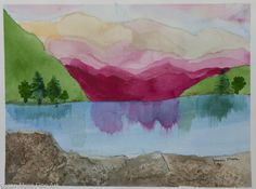 "Original watercolor by Susan Marie Fairclough, Mountains at Dusk, 9"" X 12"" Unmatted"