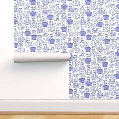 Tattoos Professional Commercial Grade Wallpaper 1ft x 2ft Sample Swatch Hipster Sailor Tattoo Parlour Blue White Doodle Navy Vintage Classic Bearded Morecandystudio  By Spoonflower