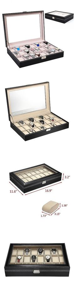 Watch 168164: 9Milelake Watch Box 24 Slots Men Black Pu Leather Display Clear Top Jewelry C... -> BUY IT NOW ONLY: $300 on eBay!