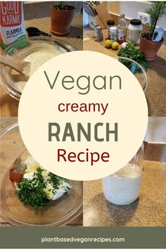 When we started removing dairy from our diet, vegan ranch wa Vegetarian Recipes Dinner, Delicious Vegan Recipes, Vegan Vegetarian, Vegan Milk, Vegan Dinners, Vegan Food, Quinoa Salat, Ranch Recipe, Vegan Ranch