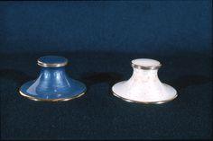 Two inkwells in silver, guilloché with translucent enamel.Gustav Gaudernack design for David Andersen 1910