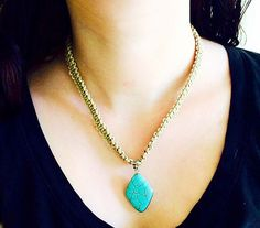 20 Flat Hemp Necklace with Turquoise Pendant by sunfaeboutique