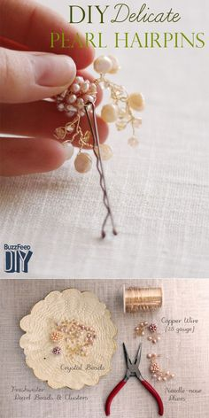 Style 5: Christy from One Handspun Day creates delicate pearl hairpins. | 5 Headpieces That Will Make You Feel Beautiful On Your Big Day