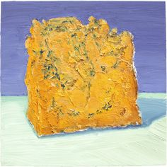 "Shropshire Blue: Shropshire Blue - made by the Colston Bassett Dairy who are famous for their stilton in the UK. ""Shropshire blue has a lovely creamy texture and slightly more mellow flavour than stilton. The orange colour is from the addition of annatto - a natural vegetable dye.""  It's a beautiful cheese to eat, trust me.  The painting is available for sale: http://mikegeno.com/cheese%20album/pages/131_Shropshire_Blue.htm"