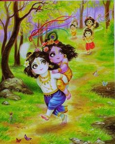 Balaram gives his baby brother a ride - Krishna Lord Krishna Images, Radha Krishna Pictures, Radha Krishna Photo, Krishna Art, Krishna Love, Krishna Photos, Hare Krishna, Krishna Leela, Radhe Krishna Wallpapers