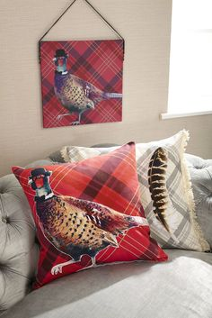 Red tartan pheasant cushion and canvas - by Arthouse