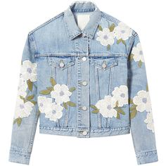 La Vie Floral Embroidered Jacket (21.350 RUB) ❤ liked on Polyvore featuring outerwear, jackets, tops, denim, rebecca taylor, floral embroidered jacket, rebecca taylor jacket and blue jackets