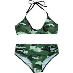 0acaee0a67ec4 Back Tied Halter Camouflage Bikini Set Camouflage ($15) ❤ liked on Polyvore  featuring swimwear