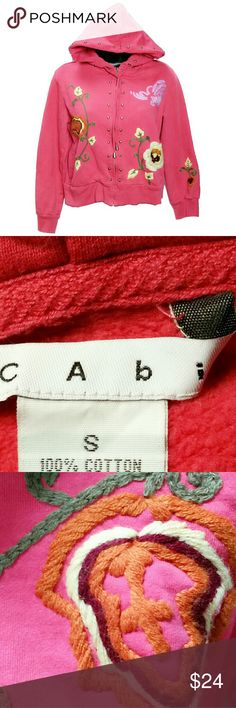 CAbi Embroidered Metal Studded Hoodie/Jacket CAbi Embroidered long sleeve hoodie/jacket. Salmon pink color. Metal studs detailing on the front and hood. Beautiful multicolor embroidery. 100% cotton. Size Small (may fit a size Medium). Good condition. CAbi Jackets & Coats