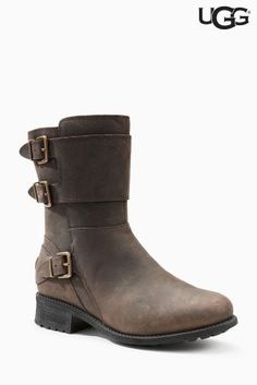 Buy Ugg® Brown Stout Wilcox Buckle Mid Boot from the Next UK online shop Faux Fur Boots, Leather Boots, Boots Online, Ugg Boots, Uggs, Footwear, Booty, Stylish, Lady