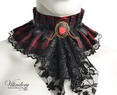 Red rose Choker necklace with red flower cameo and black lace jabot, Fantasy romantic goth jewelry, Red flower collar, Victorian inspired