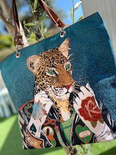 Sac Samba en jacquard illustré léopard cousu par Annabelle - Patron Sacôtin