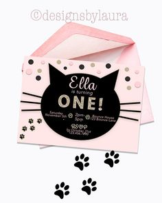 Cat Invitation-Cat Birthday Invite-Pink by DesignsbyLauraonEtsy