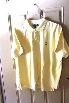 Ralph Lauren Chaps Mens Polo Rugby Golf Shirt Pale Yellow XL #RalphLauren #PoloRugby