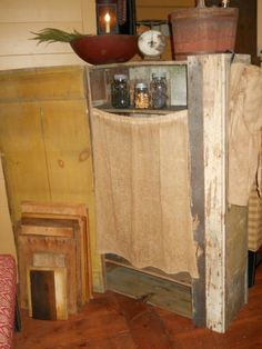 Grungy Pantry Cloth Panel Curtain (primitive) For cupboards / windows   #NaivePrimitive