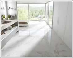 Bildergebnis für porcelain tile that looks like carrara marble Painting Ceramic Tile Floor, Porcelain Tile, Foyer Flooring, Kitchen Flooring, Luxury Interior, Modern Interior Design, Floor Design, House Design, Build My Own House