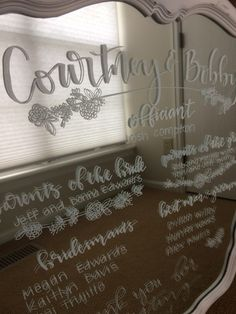 Hand Lettered Acrylic Signs + Tips to Make your Own Hand Lettered Mirror Program Wedding Decorations, Wedding Ideas, Make Your Own, How To Make, Signage, Hand Lettering, Doodles, Crafty, Mirror