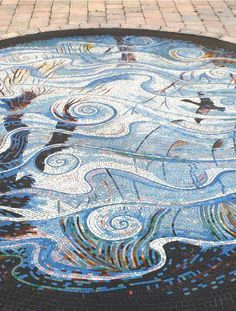 Reflections on the Rhynes triptych mosaic floor for Weston-super-Mare by mosaic artist Gary Drostle Mosaic Walkway, Mosaic Wall, Mosaic Glass, Stained Glass, Glass Art, Mosaic Floors, Installation Street Art, North Somerset, Crystals