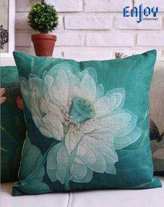 Square Throw Pillow Case Cotton linen Sofa Cushion Cover Home Decor Lotus Pond