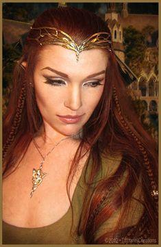 redhead Elf Queen look? Elven Makeup, Fantasy Makeup, Elf Costume, Costume Makeup, Costumes, Fantasias Halloween, Elvish, Circlet, Laura Geller