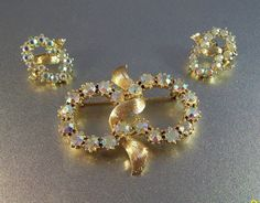 Vintage Coro Rhinestone Brooch Earrings Set by LynnHislopJewels,
