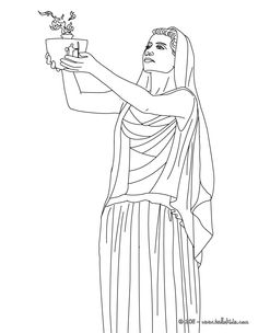 HESTIA the Greek goddess of the family coloring page