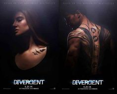 Divergent movie posters of Shailene Woodley (Tris) and Theo James (Four) from the upcoming Summit film based on Veronica Roth's book. Tatouage Divergent, Divergent Tattoo, Divergent Fandom, Divergent Trilogy, Divergent Insurgent Allegiant, Tris Tattoo, Divergent Party, Raven Tattoo, Veronica Roth