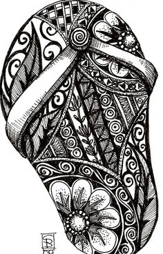 doodled flip flop