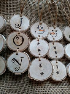 Stacked snowman and stacked JOY wood burned Christmas ornaments. Price is for each ornament. Choose SNOWMAN or JOY at checkout. These ornaments are made out of white birch wood slices. I go for a walk in the woods and find fallen limbs that I like the looks of and take them back to