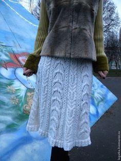 """Купить Юбка вязаная """"Ажурная зимняя"""". - белый, юбка вязаная, юбка зимняя"""