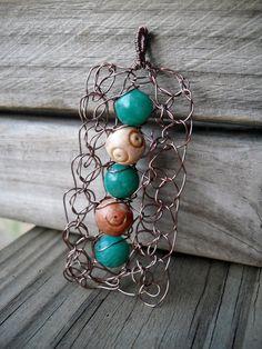 Pendant Copper Wire Crochet Aqua Gemstones by MegsCrochetJewels, $22.00