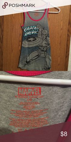 Marvel Captain America Tank Top Only worn once, tag say large but it's more like a small. Tops Tank Tops