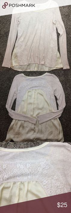 Anthropologie Bordeaux cream lace top XS Beautiful jersey knit long sleeve top. True to size. In excellent condition! Anthropologie Tops Tees - Long Sleeve