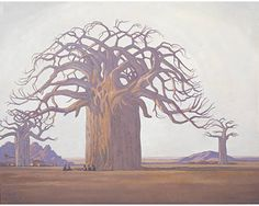 Die Kremetartboom (Baobab Tree), 1934 by Jacobus Hendrik Pierneef on Curiator, the world's biggest collaborative art collection. Baobab Tree, Baobab Oil, African Paintings, South African Artists, Pretoria, Art Market, Oeuvre D'art, Les Oeuvres, Landscape Paintings