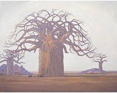 Die Kremetartboom (Baobab Tree), 1934 by Jacobus Hendrik Pierneef on Curiator, the world's biggest collaborative art collection. Baobab Tree, Baobab Oil, African Paintings, South African Artists, Inspiration Art, Collaborative Art, Pretoria, Art Market, Oeuvre D'art