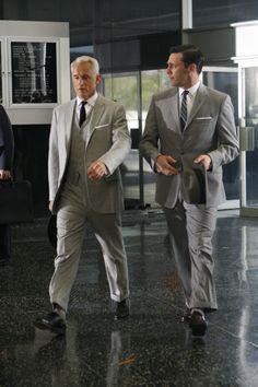 Roger Sterling (John Slattery) and Don Draper (Jon Hamm)- Episode 107 #madmen #menswear #suitandtie