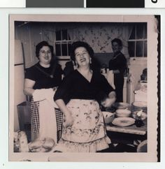 A spontaneous family snapshot capturing the delight of being a woman in the kitchen cooking the family meal.  Date: 1940?