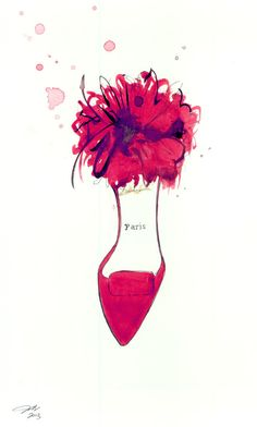 The Perfect Parisian Heel, print from original watercolor and pen fashion illustration by Jessica Durrant via Etsy