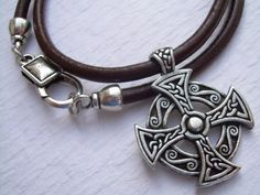 Leather Necklace, Celtic Cross, Pendant , Mens Necklace, Mens Jewelry, Mens…