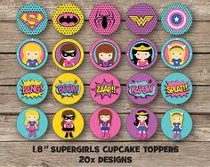 Supergirl Wondergirls Cupcake Toppers Superhero by RedAppleStudio