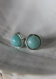 Joleen Sohier Jewelry | EARRINGS aqua amazonite stone and sterling silver studs