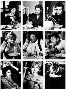 Italian actors eating pasta