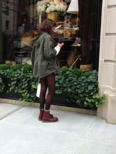 Outfit with tights, oversized olive jacket, Doc Martin's