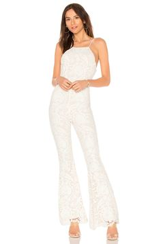 Stone Cold Fox Dylan Jumpsuit In White Lace Designer Jumpsuits, Stone Cold Fox, Printed Jumpsuit, Long Shorts, Revolve Clothing, Designing Women, White Lace, Fashion Brands, Clothes