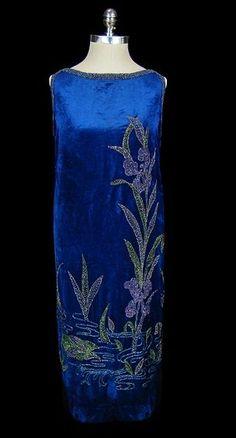 Beaded Silk Velvet Evening Dress, ca. 1920svia The Frock