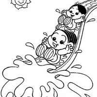 Desenho De Turma Da Monica Baby No Parque Aquatico Para Colorir
