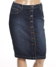Look what I found on #zulily! Dark Denim Button-Down Pencil Skirt - Plus #zulilyfinds